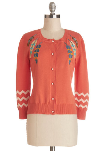 Totally Tickled Cardigan by Nick & Mo - Multi, Embroidery, Work, Casual, 3/4 Sleeve, Red, 3/4 Sleeve, Orange, Novelty Print, Buttons, Knit, Short