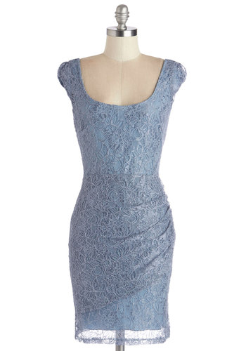 You've Been Mist Dress - Solid, Lace, Special Occasion, Party, Shift, Cap Sleeves, Good, Scoop, Mid-length, Blue, Ruching