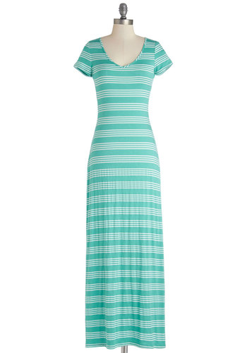 Bay Breeze Beauty Dress - Knit, Long, Green, White, Stripes, Casual, Maxi, Good, V Neck, Summer