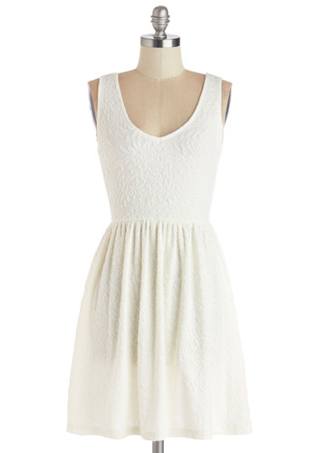 Sundae Afternoon Dress in White - Woven, Mid-length, White, Solid, Casual, Sundress, A-line, Tank top (2 thick straps), Good, V Neck, Variation