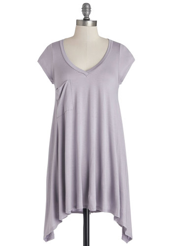 A Crush on Casual Tunic in Lavender - Purple, Short Sleeve, Knit, Long, Purple, Solid, Handkerchief, Pockets, Casual, Short Sleeves, Variation, Pastel, Spring, Summer