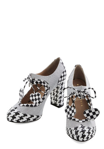Heart Work and Dedication Heel in Houndstooth by Minna Parikka - Mid, Leather, White, Houndstooth, Party, Statement, Best, Lace Up, Chunky heel, Black, Vintage Inspired, 60s, Mod, Variation
