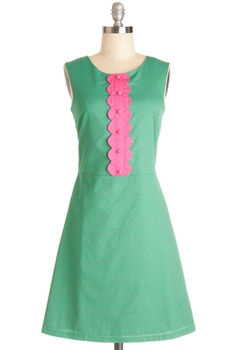 Torte and Sweet Dress - Green, Pink, Polka Dots, Buttons, Scallops, Casual, A-line, Sleeveless, Better, International Designer, Scoop, Cotton, Mid-length, Vintage Inspired, 60s