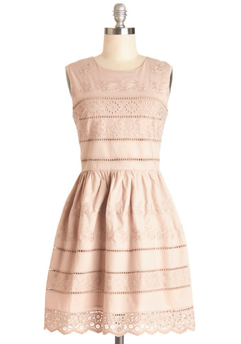 Demure Invited Dress - Tan, Embroidery, Eyelet, Scallops, Daytime Party, A-line, Sleeveless, Better, Mid-length, Cotton, Woven