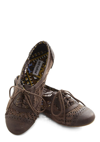 Follow My Footsteps Flat in Brown - Flat, Faux Leather, Woven, Brown, Crochet, Cutout, Menswear Inspired, Vintage Inspired, 20s, 30s, Good, Lace Up, Sheer, Variation
