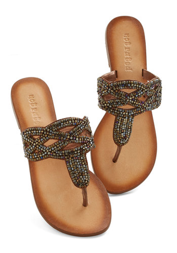 Need for Bead Sandal - Flat, Leather, Bronze, Beads, Beach/Resort, Boho, Better, Summer