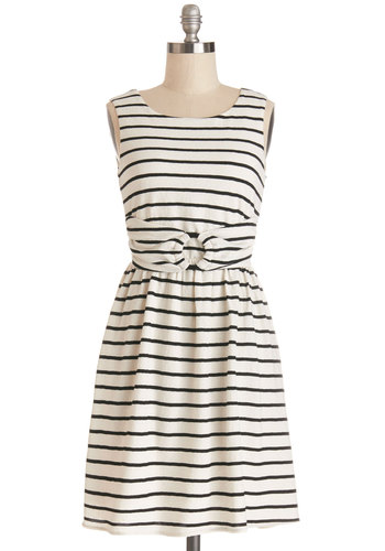 During Your Daydream Dress - Knit, Black, Stripes, Casual, Nautical, A-line, Sleeveless, Better, Scoop, Exclusives, White, Show On Featured Sale, Mid-length