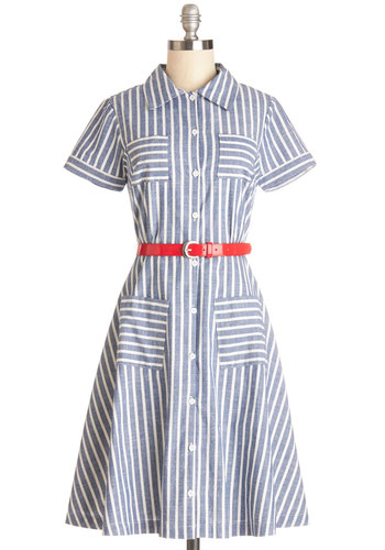 Brand New Bookstore Dress by Myrtlewood - Woven, Blue, White, Stripes, Buttons, Pockets, Belted, Casual, Shirt Dress, Short Sleeves, Better, Collared, Cotton, Exclusives, Private Label, Spring, Summer, Sundress, Show On Featured Sale, Long