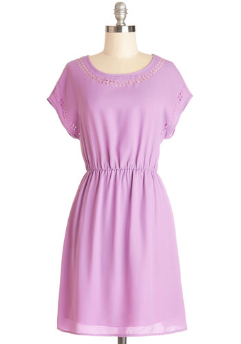 Skipping Through the Lilacs Dress - Mid-length, Purple, Solid, Casual, A-line, Short Sleeves, Good, Scoop, Pastel, Chiffon, Sheer, Woven