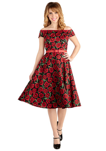 Twirl into Dusk Dress - Cotton, Woven, Floral, A-line, Better, Red, Black, Belted, Special Occasion, Prom, Party, Off the Shoulder, Cocktail