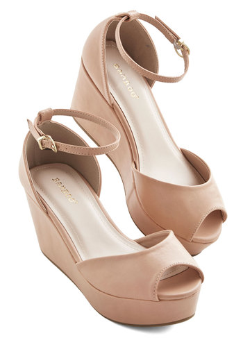 Walk It Over Wedge - Mid, Faux Leather, Tan, Solid, Party, Minimal, Good, Daytime Party, Platform, Wedge, Peep Toe