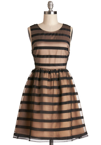Soiree What You Will Dress - Mid-length, Tan / Cream, Black, Stripes, Cutout, Special Occasion, Prom, A-line, Sleeveless, Better, Scoop, Backless, Exposed zipper, Party, Woven