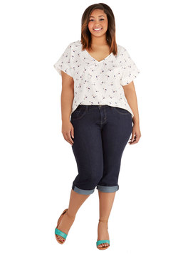Sandcastle Stylist Capri Jeans in Dark Wash - Plus Size
