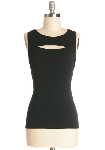 Sleek Achievement Top - Mid-length, Black, Solid, Party, Girls Night Out, Sleeveless, Black, Sleeveless, Cutout, Jersey, Knit