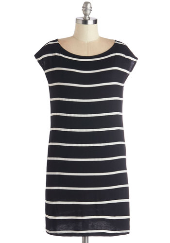 Got to Get Easygoing Tunic - Black, Short Sleeve, Knit, Black, Stripes, Casual, White, Pockets, Cap Sleeves, Long