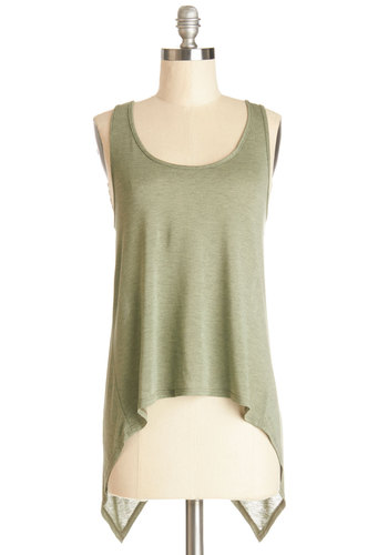 Creative Flow Top - Green, Sleeveless, Knit, Mid-length, Green, Solid, Handkerchief, Casual, Tank top (2 thick straps), Scoop