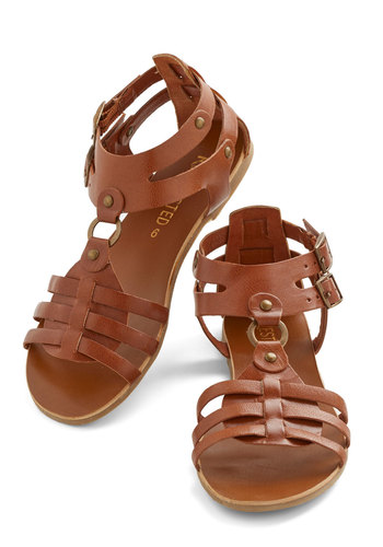 Festival Afficionado Sandal by Restricted - Flat, Leather, Brown, Solid, Boho, Better, Casual, Festival, Summer