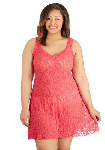 Hanky Panky Lost in Thought Nightgown in Strawberry - Plus Size by Hanky Panky - Knit, Lace, Pink, Lace, Boudoir, Sleeveless, Variation, Sheer