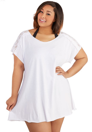 Waikiki Beach Cover-Up Dress in White - Plus Size by Becca Etc - Knit, White, Solid, Beach/Resort, Cover-up, Summer, Variation