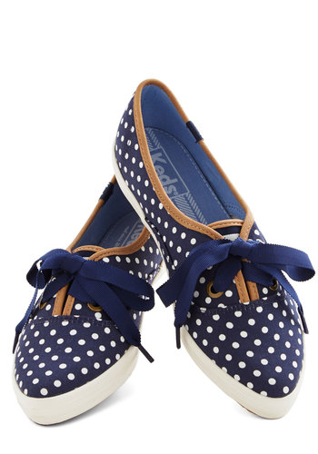 Comedy Night Sneaker by Keds - Low, Woven, Blue, Tan / Cream, White, Polka Dots, Casual, Lace Up, Summer, Americana, 90s