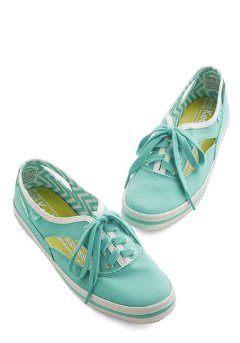 Style Sensation Sneaker by Keds - Woven, Blue, Solid, Cutout, Casual, Lace Up, Pastel, Summer, 90s