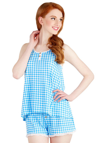 B&B Yourself Pajamas in Blue Gingham - Blue, White, Checkered / Gingham, Buttons, Ruffles, Scallops, Vintage Inspired, 50s, Sleeveless, Spring, Summer, Knit, Americana