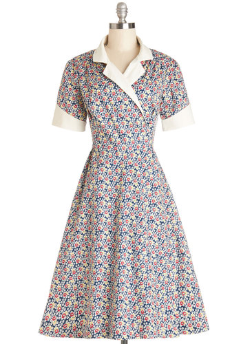 Pretty Impromptu Dress - Multi, Floral, Daytime Party, Wrap, Short Sleeves, Best, International Designer, Vintage Inspired, 40s, Collared, Long, Cotton, Woven, Pockets