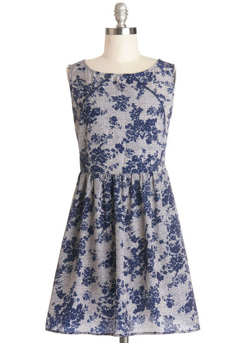 Screen and Shout Dress - Blue, Grey, Floral, Trim, Party, A-line, Sleeveless, Better, Scoop, Mid-length, Knit, Pockets