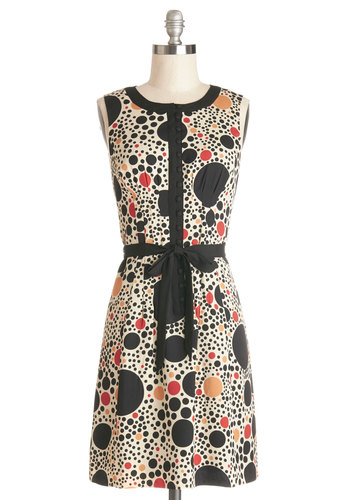Perfect Circles Dress by Kensie - Mid-length, Multi, Polka Dots, Buttons, Belted, Casual, A-line, Better, Scoop, Work, Woven