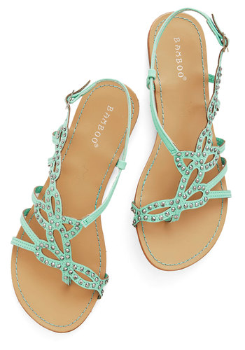 That Girly Glimmer Sandal in Mint - Flat, Faux Leather, Mint, Studs, Beach/Resort, Pastel, Summer, Good