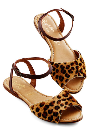 Brand New Sandal in Leopard by Seychelles - Flat, Leather, Mixed Media, Brown, Animal Print, Casual, Spring, Summer, Variation, Statement
