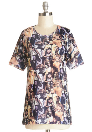 Channeling Tatum Tee - Multi, Short Sleeve, Knit, Mid-length, Multi, Novelty Print, Casual, Quirky, Short Sleeves, Crew, Spring, Summer, Gals
