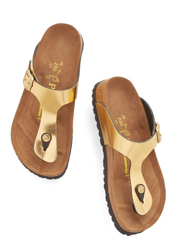 Flourish Upon a Star Sandal in Gold by Birkenstock - Flat, Leather, Gold, Solid, Beach/Resort, Luxe, Summer, Best, Boho, Variation
