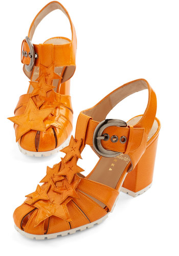 Path to Stardom Heel by Minna Parikka - Mid, Leather, Orange, Solid, Casual, Beach/Resort, Spring, Summer, Platform, Slingback, Statement