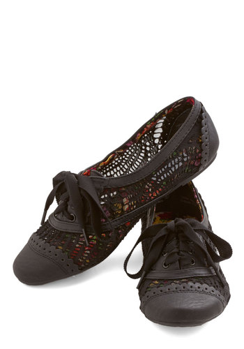 Follow My Footsteps Flat in Black - Flat, Faux Leather, Woven, Black, Solid, Crochet, Cutout, Menswear Inspired, Vintage Inspired, 20s, Good, Lace Up, Variation