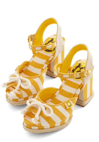 Here on Capitol Chill Heel in Sunshine by Miss L Fire - Mid, Woven, Yellow, White, Stripes, Nautical, Spring, Summer, Best, Peep Toe, Chunky heel, Slingback