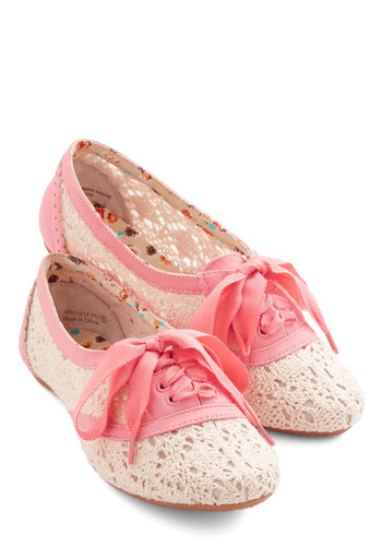 Strolling on a Sunday Flat in Pink - Flat, Woven, Pink, Tan / Cream, Crochet, Casual, Lace Up, Variation