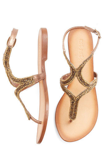 Twinkling Toes Sandal in Bronze - Flat, Leather, Bronze, Beads, Beach/Resort, Luxe, Summer, Better, Variation, Statement