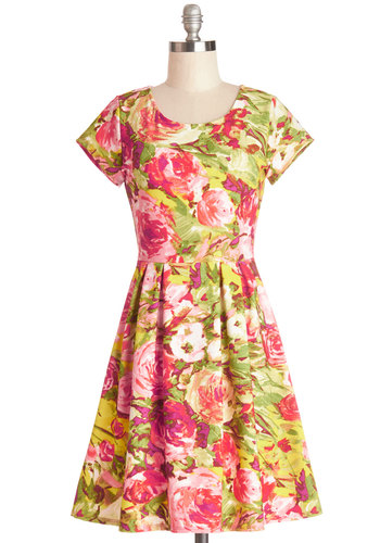 Nothing but Beauty Dress - Mid-length, Knit, Multi, Floral, Casual, Sundress, A-line, Short Sleeves, Good, Scoop, Pleats