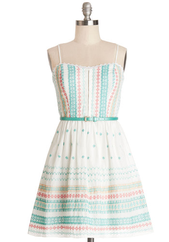 Triad and True Dress - Multi, Embroidery, Belted, Casual, Sundress, Festival, A-line, Strapless, Good, Sweetheart, Cotton, Woven, Boho