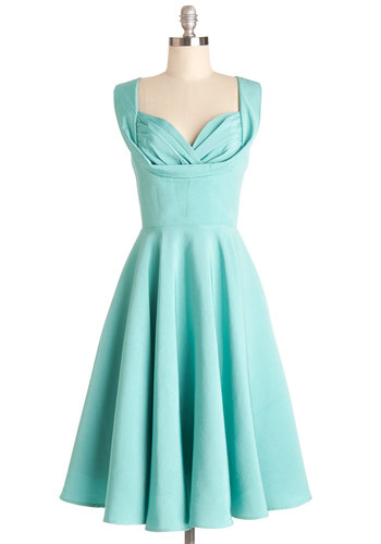 Aisle Be There Dress in Aqua by Trashy Diva - Long, Woven, Blue, Solid, Ruching, Special Occasion, Prom, Wedding, Bridesmaid, A-line, Sleeveless, Better, Sweetheart, Pockets, Vintage Inspired, 50s, Variation