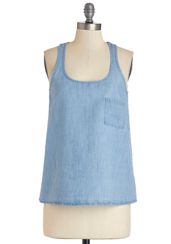 Color Your Canvas Top by Jack by BB Dakota - Good, Blue, Sleeveless, Mid-length, Denim, Blue, Solid, Pockets, Casual, Sleeveless, Spring, Summer, Scoop, Woven, Press Placement