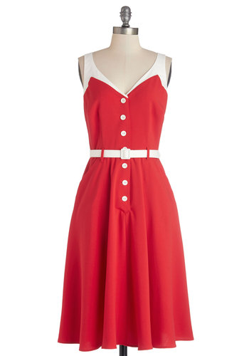 Sense of Tasteful Dress in Rouge - Red, White, Buttons, Pockets, Belted, Casual, Nautical, Rockabilly, Vintage Inspired, 50s, A-line, Sleeveless, Better, Variation, V Neck, Knit, 40s, Americana, Sundress, Top Rated, Long