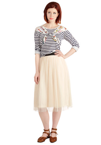 Dancing through Dallas Skirt in Cream - Good, White, Long, Woven, Cream, Solid, Pleats, Variation, A-line, High Waist, Spring, Fall, Winter