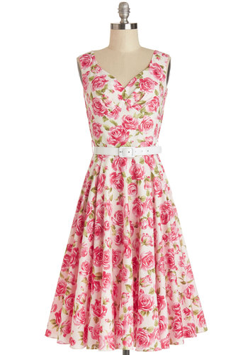 Pretty as a Rose Dress in Petals - Pink, White, Floral, A-line, Sleeveless, Summer, Best, Long, Cotton, Woven, Belted, Vintage Inspired, 50s, Daytime Party, Graduation