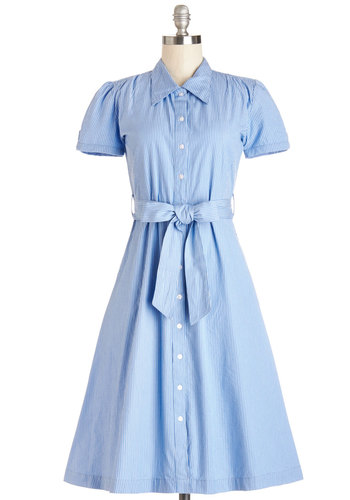 Baking Invitational Dress - Blue, White, Stripes, Buttons, Casual, A-line, Short Sleeves, Summer, Better, Collared, Long, Cotton, Woven, Pockets, Belted, Americana