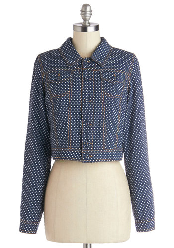 Flight to the Ferris Wheel Jacket - Blue, Blue, Polka Dots, Buttons, Pockets, Casual, Nautical, Vintage Inspired, Cropped, Long Sleeve, Good, Collared, Long Sleeve, 1, Woven, Short, White, Summer