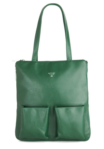Joined at the Zip Bag - Faux Leather, Green, Solid, Pockets, Work, International Designer, Green, Luxe, Urban, Fall