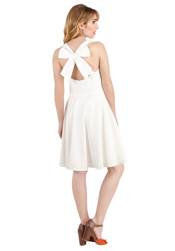 Reception Reveries Dress - White, Solid, Bows, Daytime Party, A-line, Sleeveless, Better, Scoop, Mid-length, Woven, Graduation