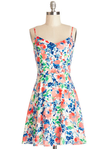 Flair for the Refreshing Dress - Woven, Short, Multi, Floral, Casual, Sundress, A-line, Spaghetti Straps, Good